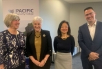 Three woman and man standing after Pacific Risks webinar.
