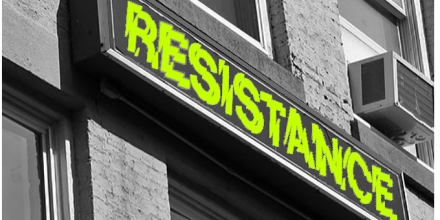 Graphic of sign with 'Resistance' in shattered font