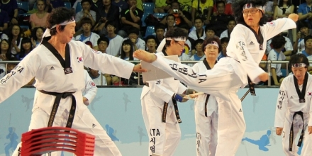 Image credit: Action shot of Kukkiwon Grandmother Taekwondo Demonstration Team taken by Jeon Han, Ministry of Culture, Sports and Tourism, Korean Culture and Information Service (CC BY-SA 2.0) https://flic.kr/p/d1QACN