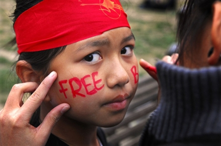 A young child participates in an Australian pro democracy rally for Burma. Photo by Rusty Stewart on flickr.