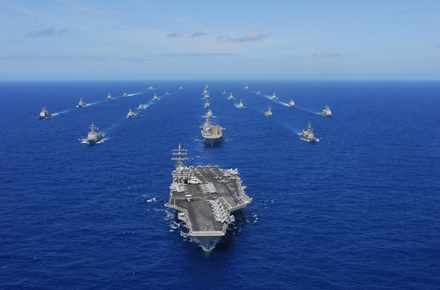 USS Ronald Reagan (CVN 76) transits the Pacific Ocean with ships assigned to Rim of the Pacific 2010. Photo from Wikipedia.