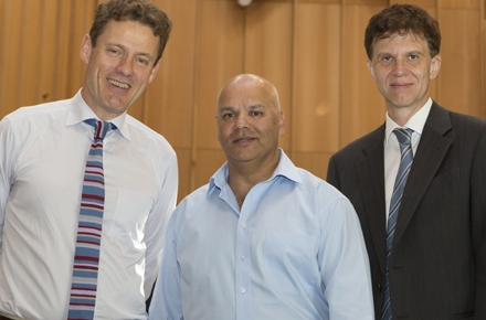 James Newman (centre) with ANU College of Asia and the Pacific Dean, Professor Andrew MacIntyre (left) and Director of the Crawford School Professor Tom Kompas. Photo by Jimmy Walsh.