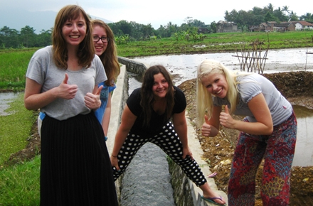 Emma Roberts (far right) with fellow students from left: Matilda Gillis, Maighdlin Doyle, Anna Rhodes.