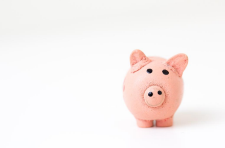 A pink pig money box for savings.
