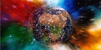 Colourful image of networked planet earth